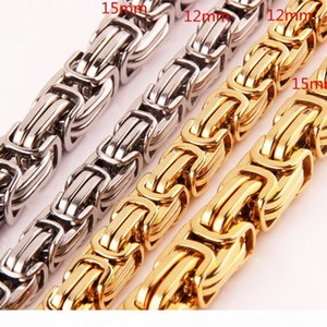 High quality Hip Hop Mens 316L Stainless Steel Flat Byzantine Link Chain Necklace Rapper Chunky Top quality Fashion Boys Jewelry