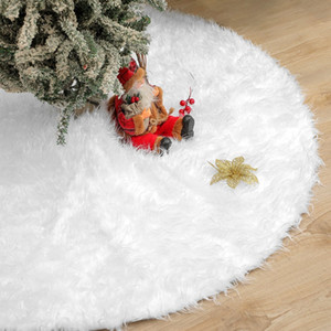 Plush Carpet 78cm White Christmas Tree Skirt Faux Fur Carpet For New Year Home Decorations w-00503