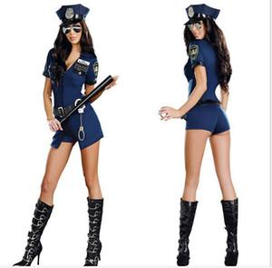 Новый Cop Uniform Костюмированного Хеллоуин костюм для женщин Свободного размера полиции косплея Черных пять белья