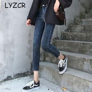 Lyzcr Denim Stretch Spring 2020 Vintage Skinny Woman High Waist Jeans per le donne Pantalon Femme