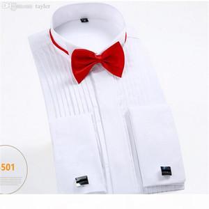 Wholesale-French Cuff Button Men Dress Shirts Long Sleeve Men's Tuxedo Shirts Male Wedding bridegroom Shirts white black