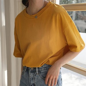 Candy Color 2020 Summer Women Tees Loose Minimalist Basic Tops All Match Casual Solid Short Sleeved T shirt Girls