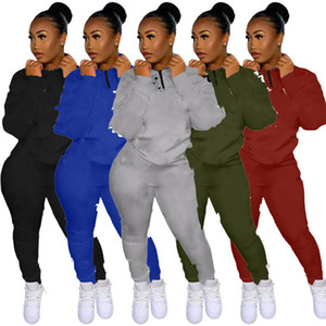 Women Clothing tracksuits 2 pieces sportswear S-2xl hoodies pants sweatsuits fall Winter pullover leggings casual jogger suits DHL 4145