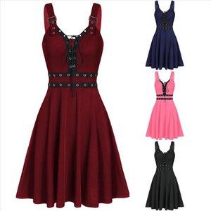 Womens Gothic Punk Sleeveless Strap Sling Dress Bandage Elegant Strap Backless Sexy Party Strapless Strapless Mini Dress GM