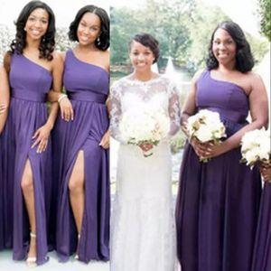 새로운 저렴한 보라색 들러리 드레스 시폰 원 웨딩 웨딩 게스트 드레스 하녀 명예 가운