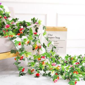2.5m / 8.2 pies flores artificiales flores falsas ratán rosa hoja guirnalda guirnalda vid hiedra boda plástico flor jardín home deor