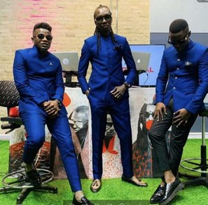 Standard collar Royal Blue Men Suits for Wedding Man Blazer Groom Tuxedo 2 Pieces Classic Fit Male Outfit Latest Designs Costume