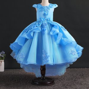 New Christmas Spring Festival Party Ceremony Girl Tail Tutu Quality Lace Sequin Applique Cake Princess Beaded Dress