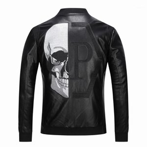 2019 High Quality Outerwear Men's Leather Jackets Skull Patterned spring Winter Biker Motorcycle Faux Leather PU Coat For Male1
