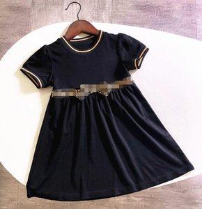 Tasarımcı Kızın Elbiseleri Mektup F F Çocuklar Yay Sevimli Elbiseler Zarif Kısa Kollu Etek Lüks Bebek Kızın Giyim Dantel Prenses Elbise