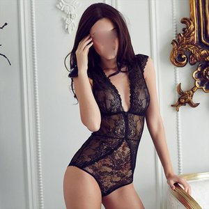 European brand sexy full lace transparent ultrathin jumpsuits plus size women bodysuit girls deep v comether womens clothing