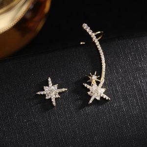 Marca coreana luxo micro-embutido zircão deixa estrela libélula s925 prata agulha brincos jóias temperamento mulheres 18k brincos banhados a ouro 18k