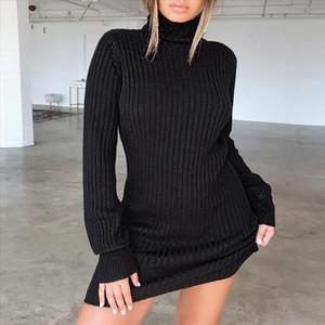Winter Dress Knitted Sweater Dress Women Plus Size 2020 Fashion Pencil Party Vestidos Black White Bodycon Dresses