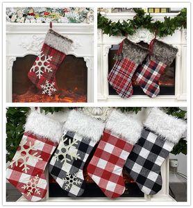 Plaid Christmas Stocking Ornament Weihnachtsbaum Anhänger Plüsch Socke Kinder Geschenk Tasche Süßigkeiten Tasche Frohes Neues Jahr Home Weihnachtsdekoration ZZC2383
