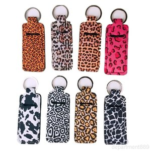 Leopard Keychain Wristlet Marble Neoprene Printed Cover Lipstick Holder Bag Wristband Key Ring Novelty Party Favor Gifts DHD539