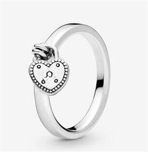 925 sterling argento cuore ciondolo anelli di nozze box originale per Pandora a forma di cuore anello di lucchetto a forma di cuore anello di design di lusso 37 O2