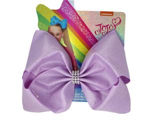 8шт новый блестящий бант 8-дюймовый твердый блеск Grosgrain ленты луки волос с зажимом головные уборы для детей аксессуары для девочек OEM ODM