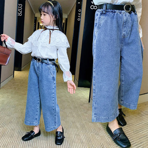 INS Kids Girls Jeans Children Toddler Boys Pants with Belt Casual Girls Trousers Girls Clothes Girl Wide Leg Jeans for Girl 2-8Y