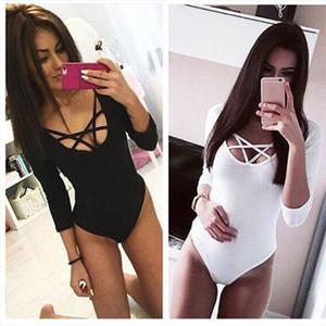 Hot Sexy Women 3 4 Sleeve Bodysuit Bodycon Lady Leotard Body Tops Jumpsuit T shirt Clubwear V Neck Hollow out Bodysuit