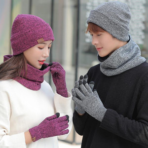 New Year Warm Beanies Cap Knitted Hat And Scarf For Women 2020 Men Bonnet Hat Touch Screen Gloves Winter Gloves For Women