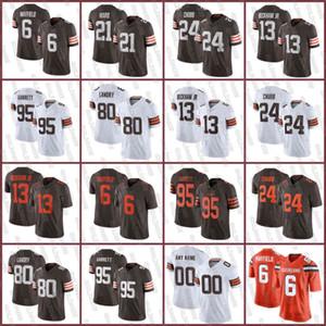 Cleveland6 Baker Mayfield BrownsJersey 24 Nick Chubb 13 Odell Beckham Jr 95 Myles Garrett 21 Ward 80 Jarvis Landry Erkek Kadın Gençlik