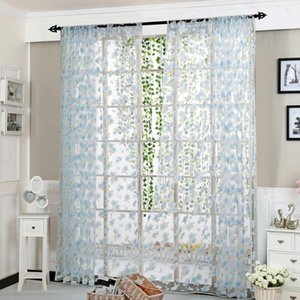 2020 Peony Sheer Curtain Window Treatment Voile Drape Valance Panel Fabric for Bedroom Living Room D1