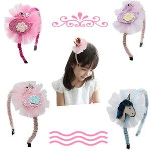 Cute Girl Crown Hairband Fashion Kids Princess Flower Hairwear Baby Ribbon Headband Childrens Party Hair Accessories GWA3039