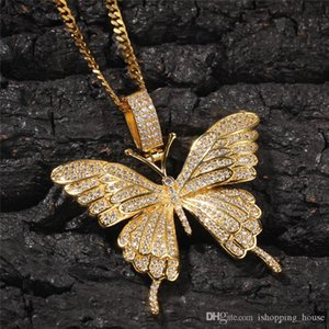 Europe and America New Fashion Micro Set CZ Butterfly Necklace Yellow Gold Plated Rapper Necklace for Men Women Nice Gift