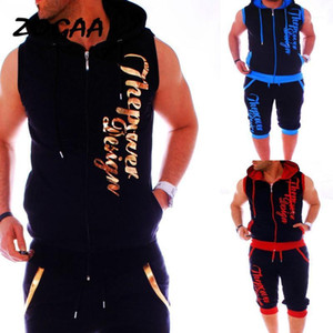ZOGAA Letter Printed Tracksuit for Men Clothing Men Sweatsuits Casual Mens Jogger Set 2 Piece Sleeveless Hoodies with Shorts Set1