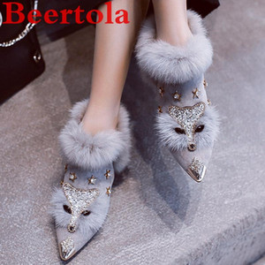 New Flock Winter Boots Women Mid Heels Face Design Zapatillas Mujer Fur Crystal Sexy Shoes Women Slip On Shiny Ladies Shoes