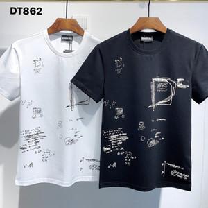 DSQ PHANTOM TURTLE 2021SS New Mens Designer T shirt Paris fashion Tshirts Summer DSQ Pattern T-shirt Male Top Quality 100% Cotton Top 1192