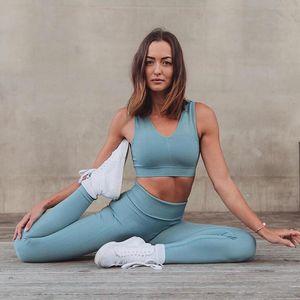 Zcxqm Йога набор для женщин без рукавов полосатый сплошной цвет йога костюм бесшовные быстрые сушильные фитнес одежда спортивная одежда тренажерный зал Леггинсы