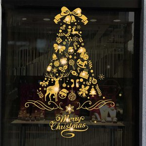 Merry Christmas Decorations For Home 2021christmas Stickers Decoration Shopping Mall Glass Window Stickers Pvc Electrosta#p30