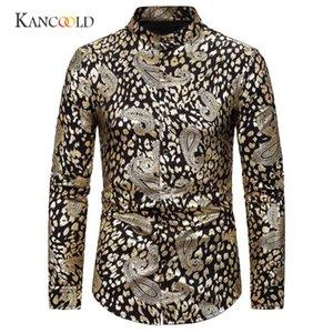 KANCOOLD Men Shirts 2020 New Fashion Turn-down Collar Long Sleeve men's shirt Gentleman Slim Fit Printing Wedding Tops Dec18