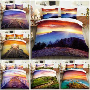Impresión 3D Hermosa serie de paisajes Cómodo dormitorio de doble dormitorio Conjunto de ropa de cama Edredón Conjunto de ropa de cama Caja de almohada Extra grande