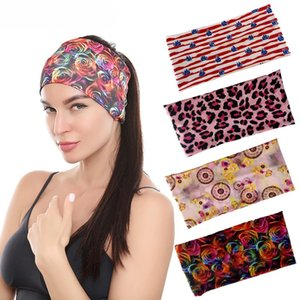 DHL Shipping Leopard Headbands Sweatbands Elastic Yoga Hair Wraps Stretch Wide Head Bands Sport Running Non slip Headwear Kimter-Z43A