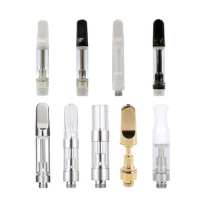 Flat Th205 Th210 White Black Ceramic Wood Tips Oil Vape Cartridge Fit For Thin And Thick Oil Disposable Vaporizer