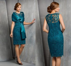 Turquoise Lace Sheath Mother Of The Bride Dress With Shawls Cheap Short Mother Formal Dresses Plus Size Eveninfg Prom Dresses