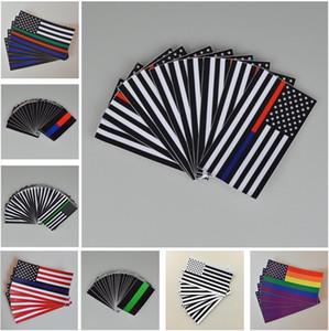 Dünne blaue Linie Fahnen Aufkleber 6,5 * 11,5 cm Amerikanische Flagge Aufkleber für Autos und LKW Wandfenster Aufkleber Dekorative Aufkleber 28 m2
