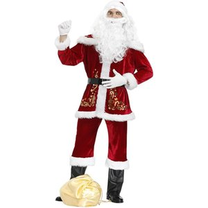 Super Large Christmas Costumes Men Cosplay Fancy Adult Suits Festival Celebration Suit Luxurious Velvet Christmas Party Costume Z1128
