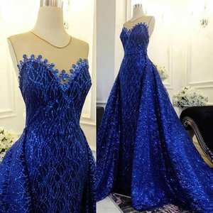 Sparkling Sequins Prom Dress Mermaid With Detachable Train Plus Size Evening Party Gowns robe de soiree