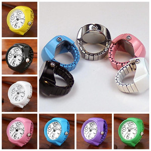 Vibrant Candy Color Big Numbers Mini Finger Ring Watch Elastic Band Quartz Watch Finger Ring Watches Steel Round Elastic