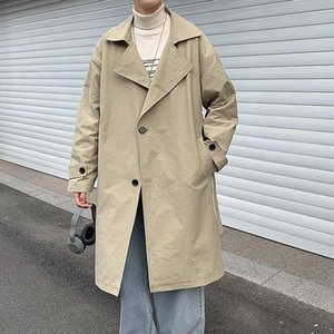 Men's coat 2020 autumn winter new slim solid color in long joker over the knee coat loose leisure personality youth men's wear