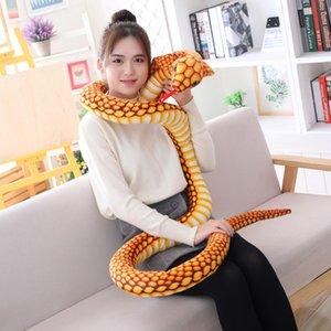 Симуляторные змеи плюшевые игрушки гигантские боа Cobra длинные фаршированные змеи мягкие игрушки для детей детские дети рождения рождественские подарок 110-300см q0113