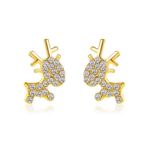New Elk Deer Stud Earrings For Women Christmas Gift Rhinestone Animal Alloy Rose Gold Earring Charm Ear Jewelry
