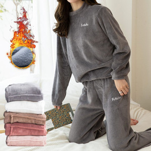 Womens Pajama Set Warm Flannel Pajamas Sleepwear Homewear Thick Winter Velvet Female Plush Pyjamas Suit Sweatshirt Hoodies