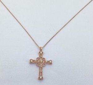 UUE Jewelry white cubic zirconia rose gold over silver pendants Cross shape pendant Exquisite and generous Hot sale