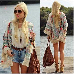 Fashion Casual Women Boho Fringe Floral Kimono Cardigan Tassels Beach Cover Up Cape Jacket hots Drop Shipping