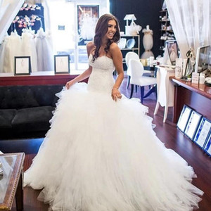 2021 Ivory Sweet Lace Wedding Dresses Sweetheart Sleeveless A-Line Sweep Train Soft Tulle Ruffle Bridal Gowns Designer Marriage Dress