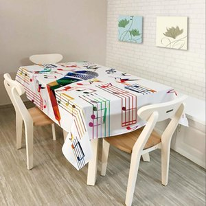 Modern Simplicity Tablecloth Colorful Musical Note Pattern Polyester Cotton Dustproof Rectangular Dining Table Cloth Home Decor1